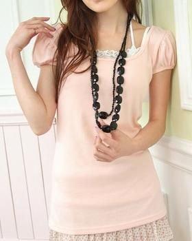 R12-271 Princess Sleeve BLOuse - Pink, Yellow, White, Black