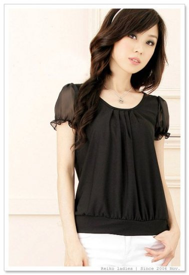 EYC2038 Chiffon Simple Blouse - Black