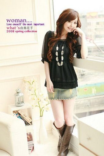 YC3128 Chiffon BLouse with lace trimming - Black