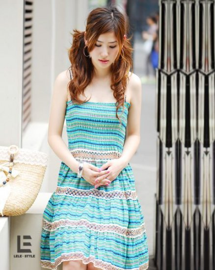 K1R26-057 - Layer Stripe Dress - Blue (2 way wearing)