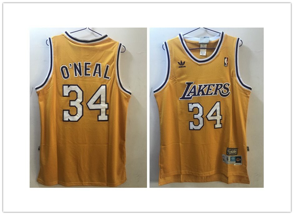 54a06ddc095 Los Angeles Lakers 34  Shaquille O Neal Throwback Stitched Jersey Yellow
