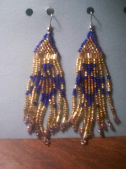Gold with Blue Dangel Earrings