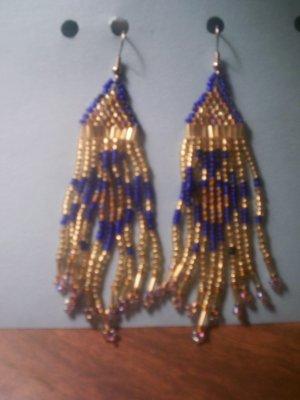 Gold with Blue Dangel Earrings