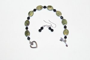Russian Jade and Black Beaded Bracelet and Earrings