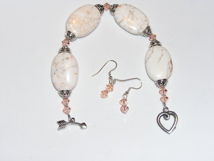 Wild Mustang White Turquoise and Peach Swarovski Crystal Bracelet and earrings