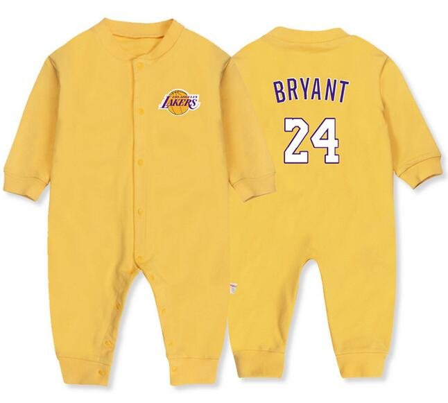 a74c8145cc9 Kobe Bryant Baby Onesie Long Sleeve LA Lakers #24 Bodysuit for Toddler White