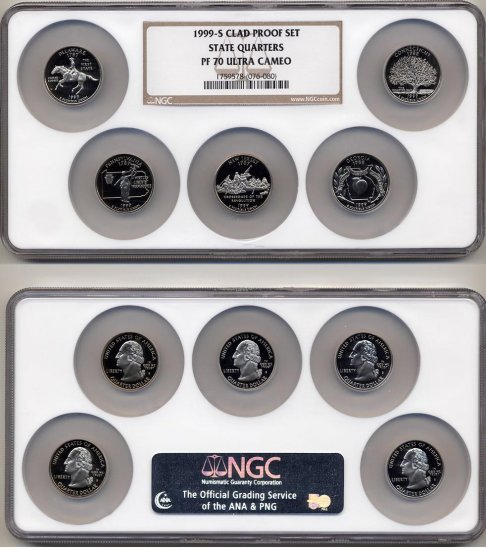 1999-S Clad State Quarter SET NGC PROOF 70 Ultra Cameo * FREE SHIPPING *