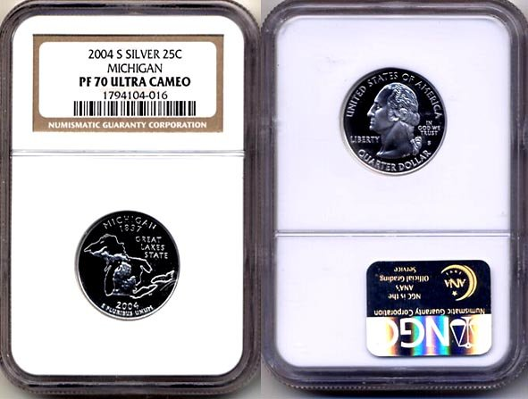 2004-s Silver Michigan State Quarter NGC PF 70 Ultra Cameo * FREE SHIPPING *