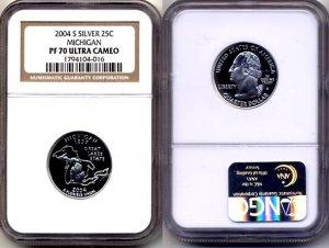 2004-s Silver Michigan State Quarter NGC PF 70 Ultra Cameo * FREE SHIPPING *