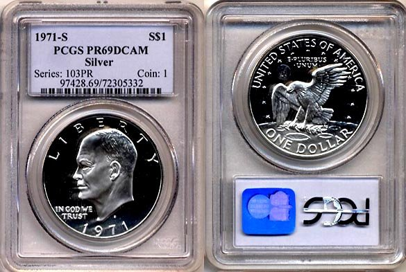 1971-S Eisenhower Silver Dollar (FIRST YEAR) PCGS PR69DCAM * FREE SHIPPING *
