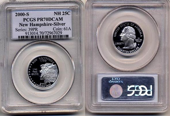 PCGS PR70DCAM 2000-s New Hampshire Silver State Quarter * FREE SHIPPING *