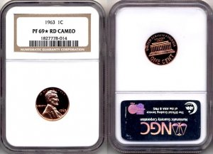 1963 Ultra Rare Proof Lincoln Cent NGC PF 69 * RD Cameo * FREE SHIPPING *