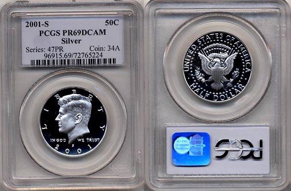 2001-S Silver Proof Kennedy Half Dollar PCGS PR69DCAM * FREE SHIPPING *