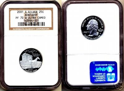 "Silver 2001-S Kentucky 25ct NGC PF 70 ""W"" UCAM *OO1*  FREE SHIPPING"