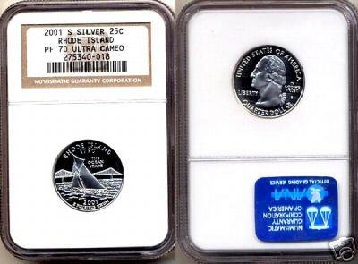 Silver 2001-S Rhode Island 25ct NGC PF 70  UCAM FREE SHIPPING