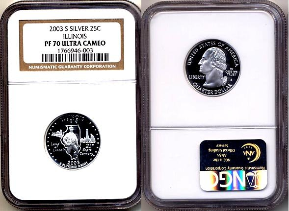 Silver 2003 S Illinois State 25ct * NGC PF 70 UCAM * 70 FREE SHIPPING