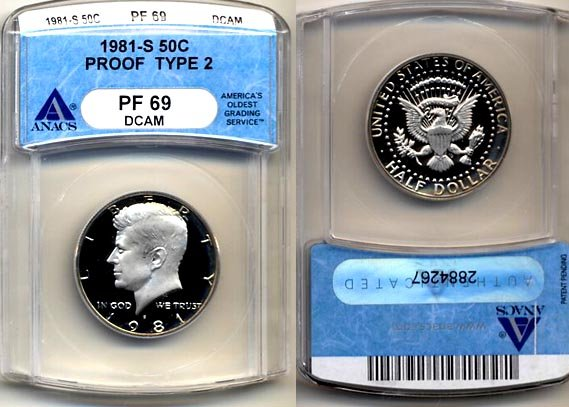 1981-S TYPE 2 Kennedy Half ANACS PF 69 DCAM * Free Shipping *