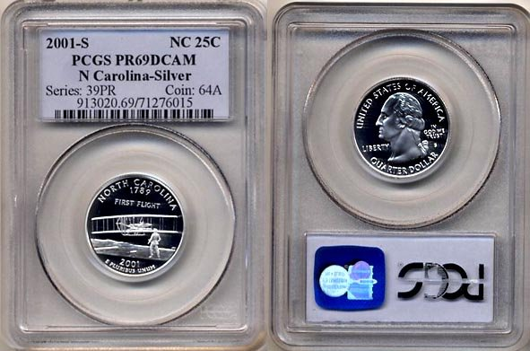 PCGS PR69DCAM 2001-S SILVER North Carolina State Quarter * Free Shipping *