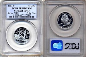 PCGS PR69DCAM 2001-S SILVER Vermont State Quarter * Free Shipping *