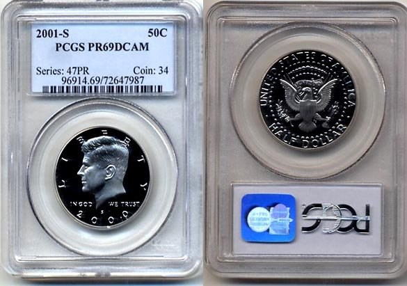 2001-S Kennedy Half Dollar PCGS PR69DCAM * FREE SHIPPING *
