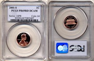 2001-S LINCOLN CENT PCGS CERTIFIED PROOF 69 RED DEEP CAMEO * FREE SHIPPING *