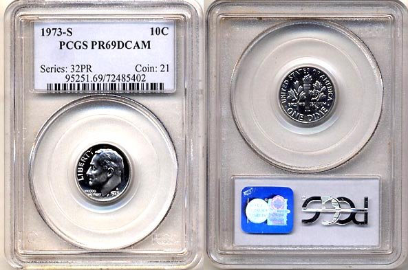 1973-S Proof Roosevelt Dime PCGS PR69DCAM * FREE SHIPPING *