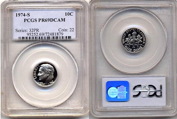 1974-S Proof Roosevelt Dime PCGS PR69DCAM * FREE SHIPPING *