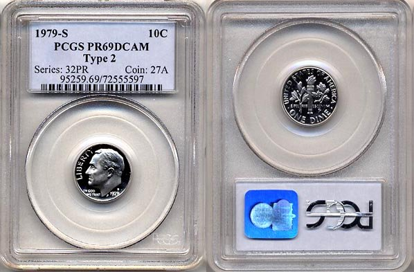 1979-S Type 2 Proof Roosevelt Dime PCGS PR69DCAM * FREE SHIPPING *