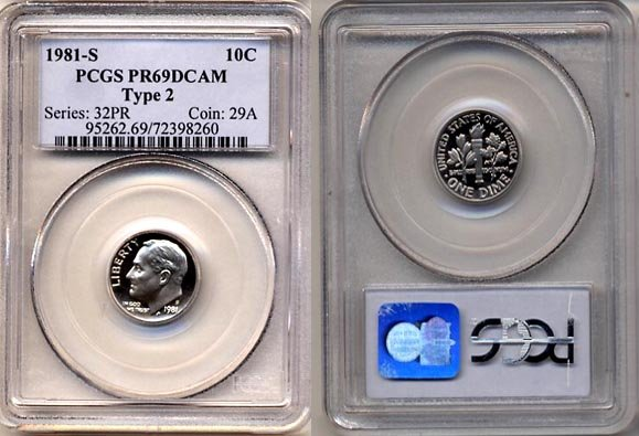 1981-S Type 2 Proof Roosevelt Dime PCGS PR69DCAM * FREE SHIPPING *