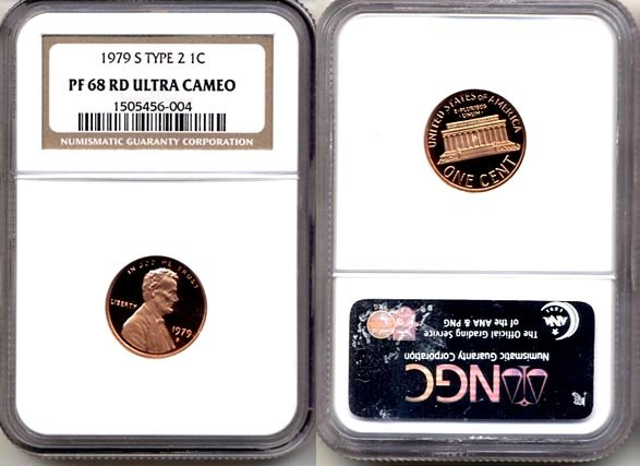 1979-S TYPE 2 LINCOLN CENT NGC CERTIFIED PROOF 68 RED DEEP CAMEO * FREE SHIPPING *
