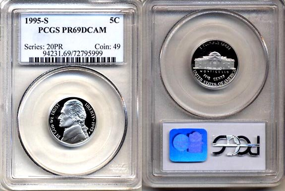 1995-S Jefferson Nickel Certified PCGS PR69DCAM * FREE SHIPPING *