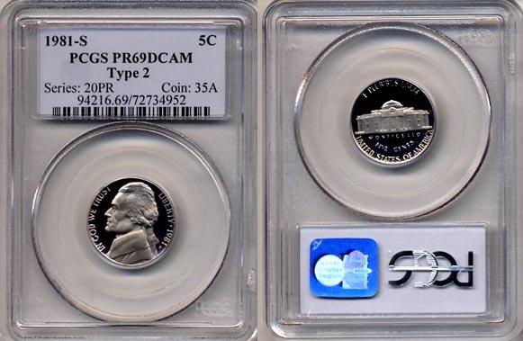 1981-S Type 2 Jefferson Nickel Certified PCGS PR69DCAM * FREE SHIPPING *