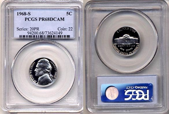 1968-S Jefferson Nickel Certified PCGS PR68DCAM * FREE SHIPPING *