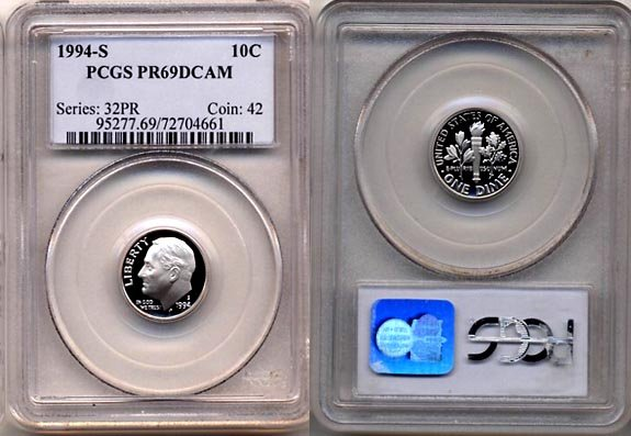 1994-S Proof Roosevelt Dime PCGS PR69DCAM * FREE SHIPPING *