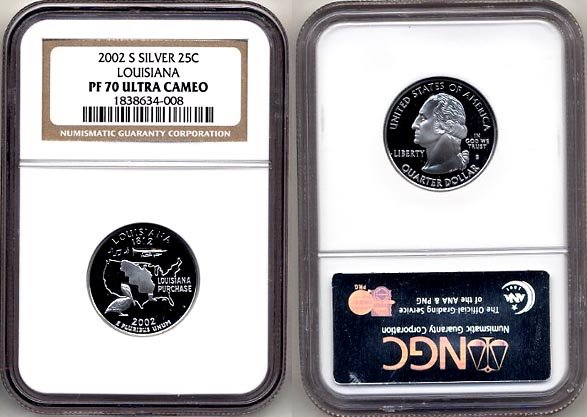 2002-s Silver Louisiana State Quarter NGC PF 70 Ultra Cameo * FREE SHIPPING *