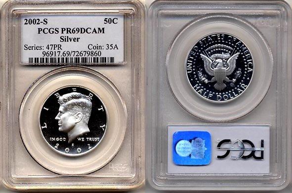 2002-S Silver Proof Kennedy Half Dollar PCGS PR69DCAM * FREE SHIPPING *