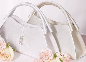 Satin Evening Bag with Crystals (white or ivory)