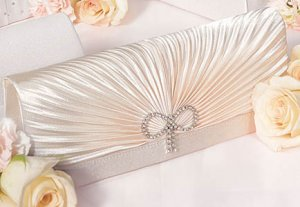 Classic Rouching & Crystal Bow Evening Bag