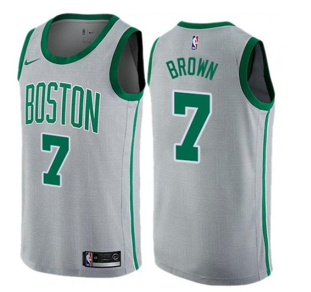 bfb92fe3224 Men s Boston Celtics  7 Jaylen Brown Gray Basketball Jersey