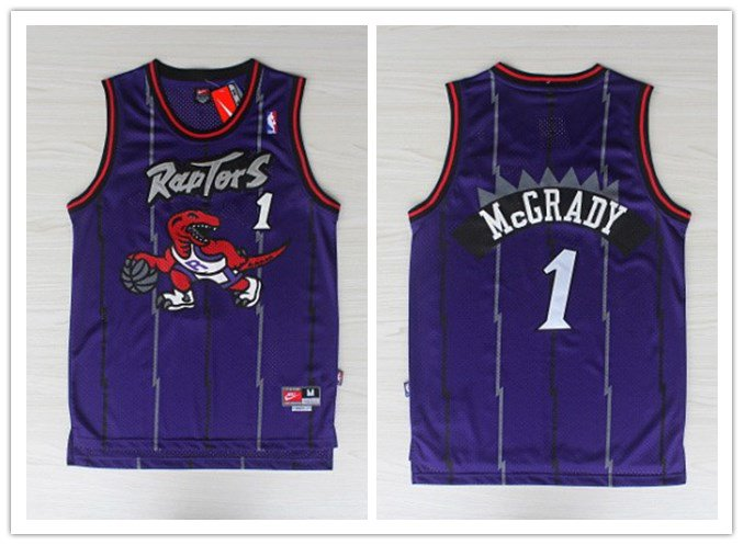4a5aec186b0 Men's Toronto Raptors #1 Tracy Mcgrady Purple Throwback Stitched Jersey