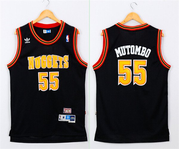 36aa1255e45 Men's Denver Nuggets #55 Dikembe Mutombo Black Throwback Jersey