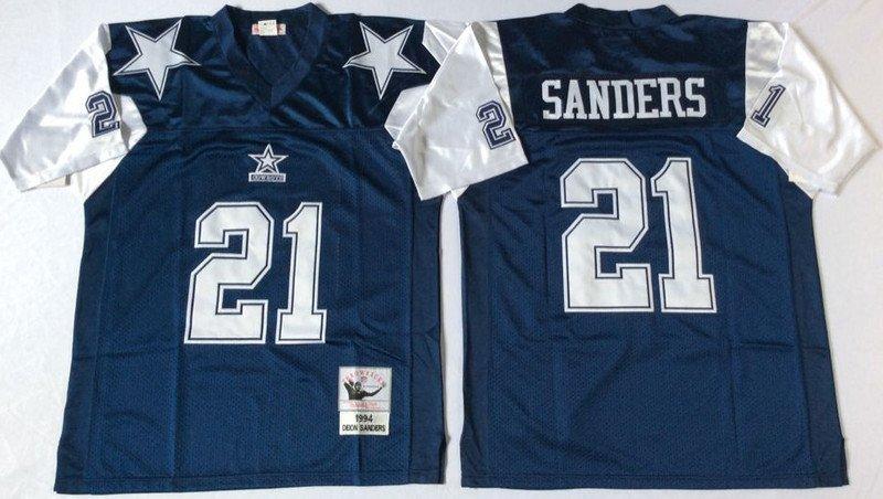 best authentic 3049f 70f68 Men's Dallas Cowboys #21 Deion Sanders Authentic Navy Blue/White Throwback  NFL Jersey