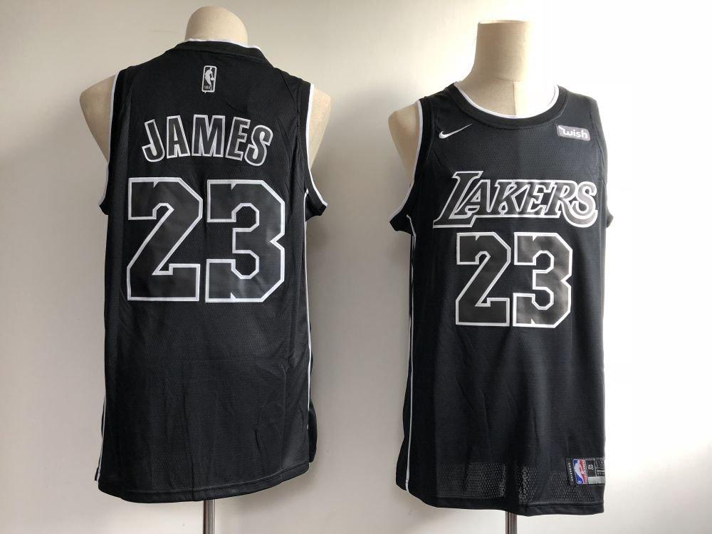 Men's Lakers #23 Lebron James Jesey Black - White 2018-19