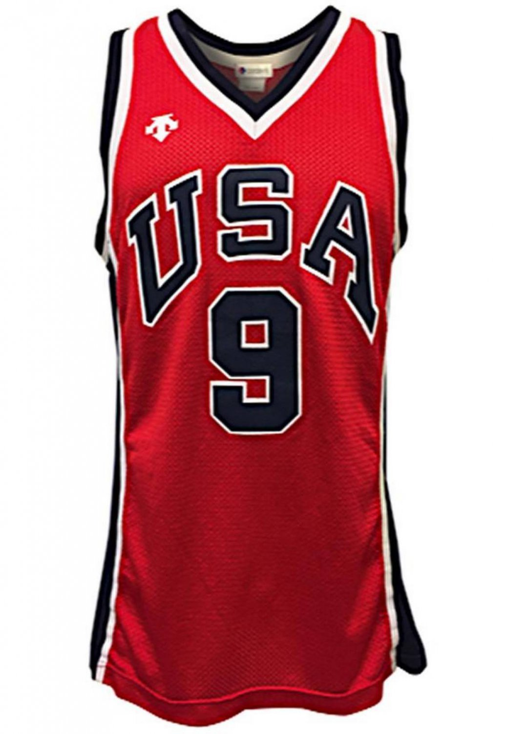 71b9d9a4589 9# Michael Jordan Red Jersey Team USA 1984 Dream Team Olympic Games Fine  Embroidery