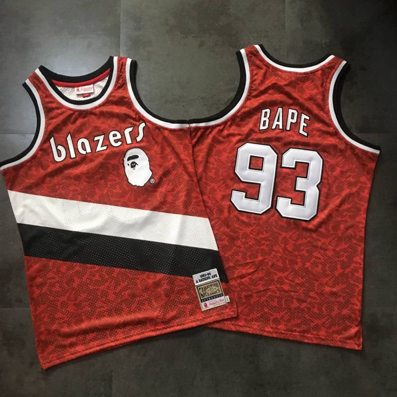 f312e6e88a3b Men s BIG APE Jointly Blazers 93 Jersey Red Fine Embroidery 2019
