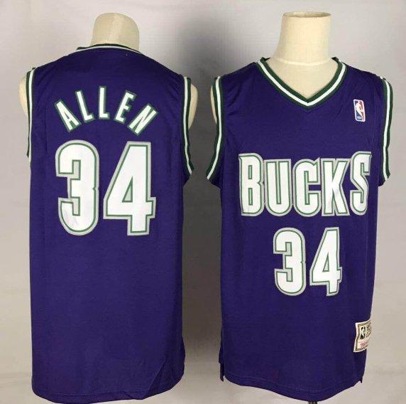 1453fa213 Men's Bucks #34 Ray Allen Basketball Throwback Jersey Purple