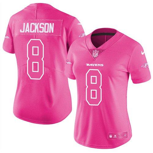 Women's Baltimore Ravens #8 Lamar Jackson Limited Jersey Pink