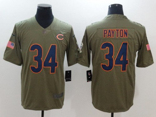 2dd2999b Any Size Chicago Bears #34 Walter Payton Salute To Service Jersey Olive