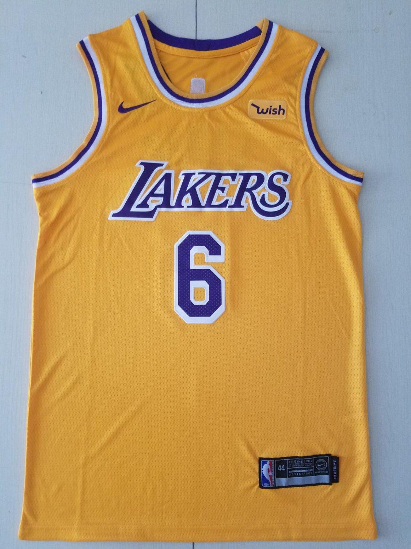 brand new 8ebd7 97a8b Men's Lakers #6 LeBron James Basketball Jersey Yellow