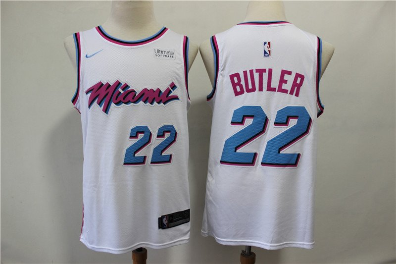 best authentic 57377 ed327 Men's Miami Heat #22 Jimmy Butler Basketball Jersey White City Edition
